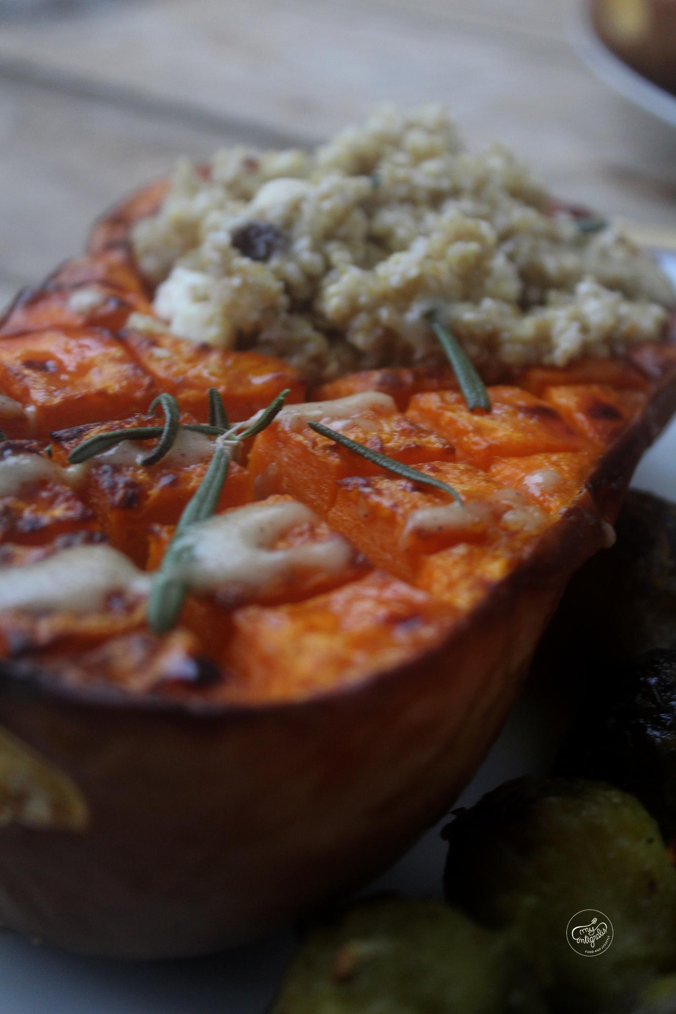 abóbora assada com quinoa
